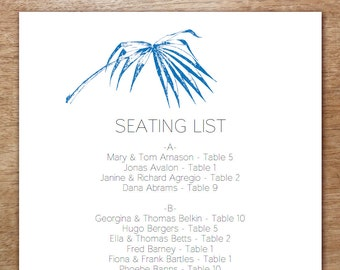 Printable Seating List - Wedding Seating List Template - Instant Download - Seating Chart PDF - Navy Palm Frond Seating List - Palm Leaf PDF