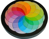 Pastel Rainbow Color Wheel Creative Puzzle Mosaic Puzzle Waldorf Toy Color Matching Game