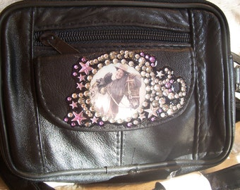 SALE... Black Lambskin Leather Purse with Vintage Cowgirl riding her Paint Horse