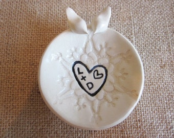 Love bird Personalized ring holder, In Stock,  wedding ring holder in Antique white