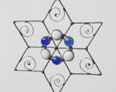 Blue and White  Wire and Stained Glass Star Suncatcher or Ornament