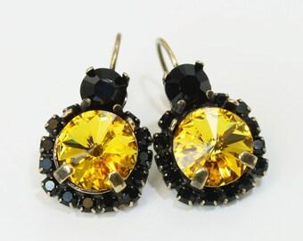 Yellow Black Earrings Pittsburgh Steelers Penguins Pirates  Vcu,Rmc Crystal Drop Earrings large Halo Earrings,Swarovski Crystal,Brass,BE102