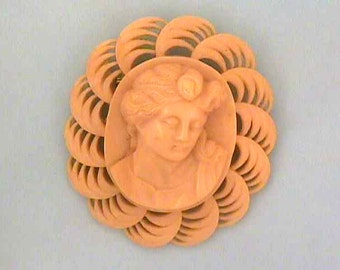 Celluloid Cameo Brooch 1930s Large Gorgeous!