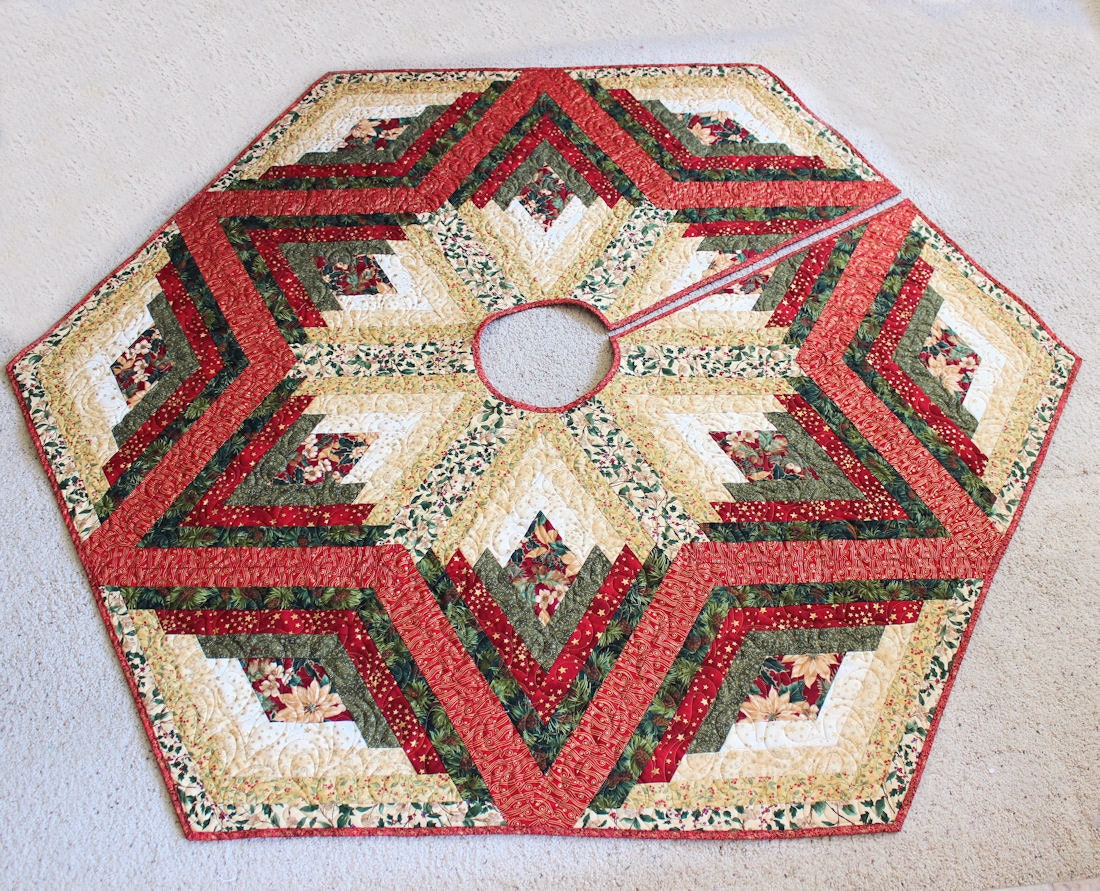 Large christmas tree skirt diamond log cabin quilt in reds