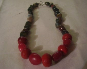 Jasper and Carnelian Necklace.