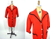 1960s sweater vintage 60s red mod button down wool Bonwit Teller sweater coat L/XL