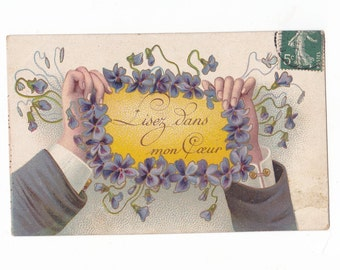 Vintage French Illustrated Postcard Handwritten & Stamped  Early 1900's