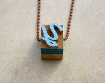 Vintage wooden typographic necklace. Antique copper chain. Letter Y blue yellow green wood