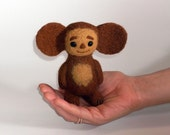 "Cheburashka 5"", Miniature Needle Felted Soft Sculpture, OOAK"