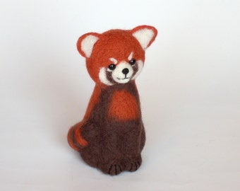 """Little Red Panda 5 """", Needle Felted Miniature, Soft Sculpture, OOAK, red, brown, wool, toy animal. MADE to ORDER"""