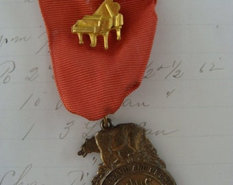 Stunning Antique Music Medal Ribbon Badge