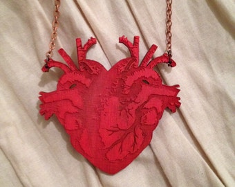 Small Wooden Double Heart Necklace