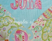 Personalized Pink and Aqua Blanket - Minky Blanket for Baby Girls - Tiffany and Pink Blanket - Pink and Aqua Baby Blanket