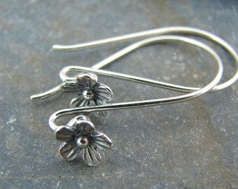 Tiny Delicate Blossom Adorned Sterling Slver Earwires - One Pair - ewtdb