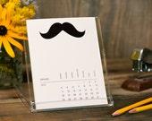 2015 Desk Calendar - Mustache Funny Simple Desktop Stand