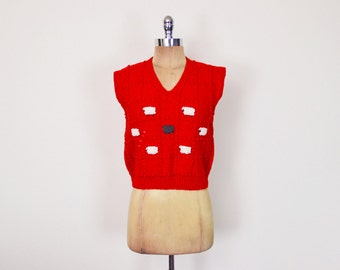 Vintage 70s Red Black Sheep Sweater Vest Lamb Sweater Jumper Sleeveless Sweater Hand Knit Sweater Wool Sweater 70s Sweater Women S Small