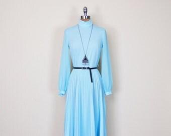 Vintage 70s Blue Sheer Chiffon Sleeve Pleat Skirt Maxi Dress Full Sweep Full Swing Party Dress 70s Dress Hippie Dress Boho Dress M Medium