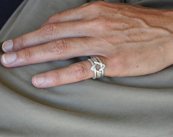 Star Of David | 4 piece puzzle ring | Sterling | small star of david puzzle ring. Unisex. For Bar / Bat Mitzvah or for Jewish holidays.