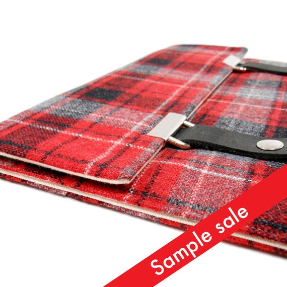 iPad case - red and gray vintage wool plaid
