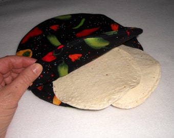 Tortilla Warmer for the Microwave /  Hot Peppers / Hot Pocket