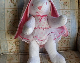 White with Pink Polka Dot Plush Stuffed Ballerina Bunny