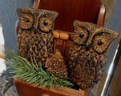 Two OWLS Shelf Sitters Blackened Beeswax Cinnamon Scented Saigon Cinnamon Rub Primitive Wax Folk Art German FREE SHIPPING