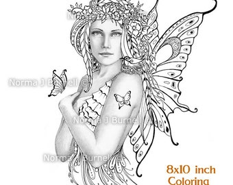 spring fairy fairy tangles printable gray scale coloring sheets fairies adult coloring book pages by - Coloring Pages Dragons Fairies