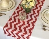 Red and White Chevron Sequin Table Runner Wedding Table Runner