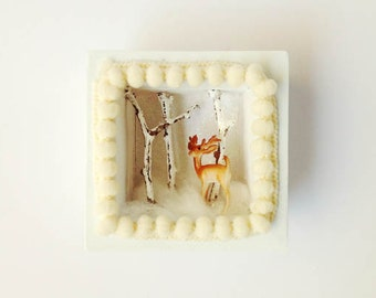 Reindeer Shadow Box/ Christmas Message Box/ Winter wonderland/ Shadow Box/ Woodland/ Shadow Box/ Diorama