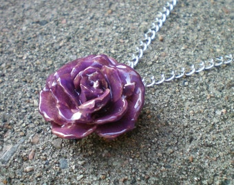 Free Shipping REAL Small Purple TEA ROSE Adjustable 18 inch Sterling Silver Chain Necklace