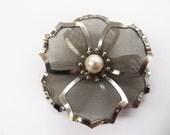 Mesh Brooch Flower Silvertone Metal Signed BJD Faux Pearl floral jewelry