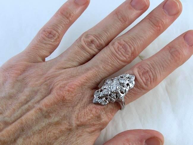 Vintage Art Deco 14k white gold filigree 1 carat diamond statement navette ring