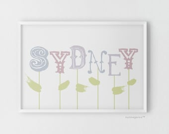 Name blooms nursery art print for girls, pastel purple lavender