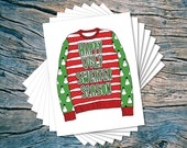 Ugly Sweater Season - set of 8 - A2 folded note cards & envelopes