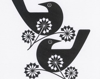Blackbirds And Ivy Blossom - An Original Hand Pulled Gocco Screen print