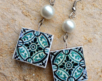 Portugal Antique Azulejo Tile Replica Earrings,  Ilhavo, SAGE Green with Pearls 458