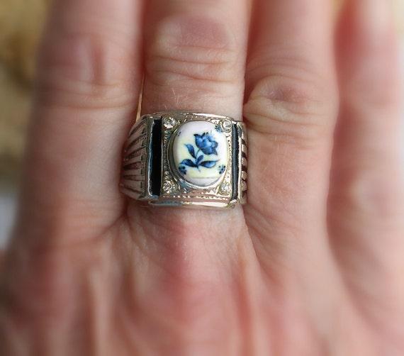 Portugal Antique Azulejo Tile Replica Ring 1837 Delft Blue US size 10