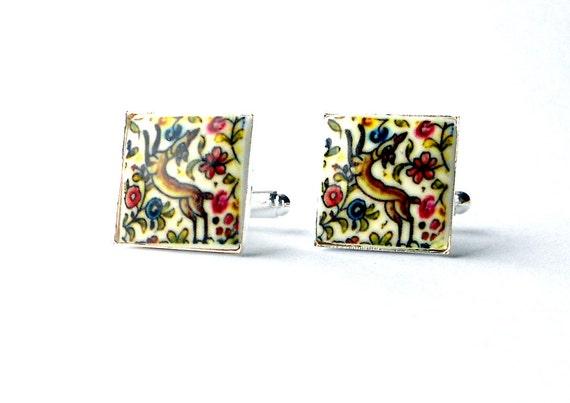 COIMBRA Portugal 17th Century  Pottery CUFF LINKS with Deer, 17mm Ceramicas de Coimbra Portuguese Pottery