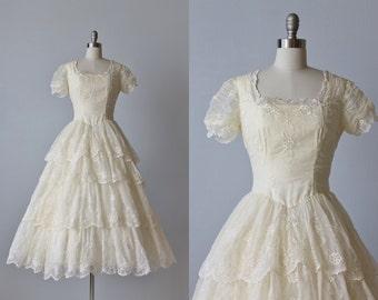 1950s Wedding Dress / 1950s Lace Wedding Gown / Eyelet Dress / Chiffon / Hazel