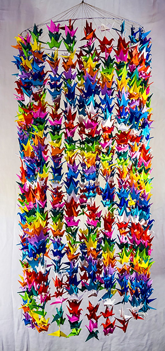 960 origami multi colored crane mobile 16 diameter ring 24 for 1000 paper cranes wedding decoration