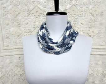 Circle of Chains Necklace Scarf in White, Dove Gray and Deep Gray - Ready To Ship Women's Crochet Infinity Skinny Circle Scarf