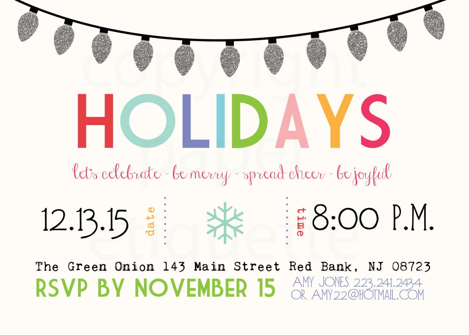 Festive Winter Holiday Party Invitations,Holiday Christmas Party ...