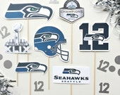Seahawks Photo Booth Props. Super Bowl Party. Twelfth Man Man. 12th Man. 12s. Beast Mode. Seahawk Football Party
