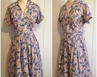 Vintage 60's Blue Floral Dress Size 10