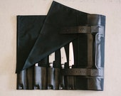 """Black Waxed Canvas & Hand dyed Vegetable Tanned Leather // """"waxed knife roll"""" by fullgive in fg-black"""