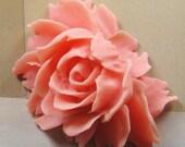Big coral pink rose cabochon - (CA800-C7) - 5 pcs