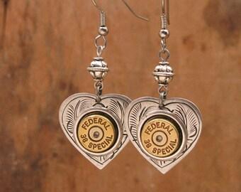 Bullet Jewelry - Heart Jewelry - Gun Jewelry - Shot Thru the Heart Themed Bullet Casing Earrings - Gift for Her