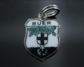 Vintage RUE 800 Silver Buer Enamel Shield Charm