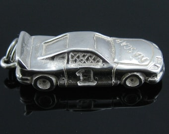 Vintage Sterling Silver Large Nascar #1 Race Car Charm