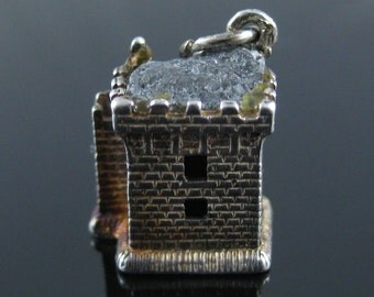 Charm, Castle, Sterling Silver, 3D, Rock Top, Stone, Collectible, 925 Silver Charm